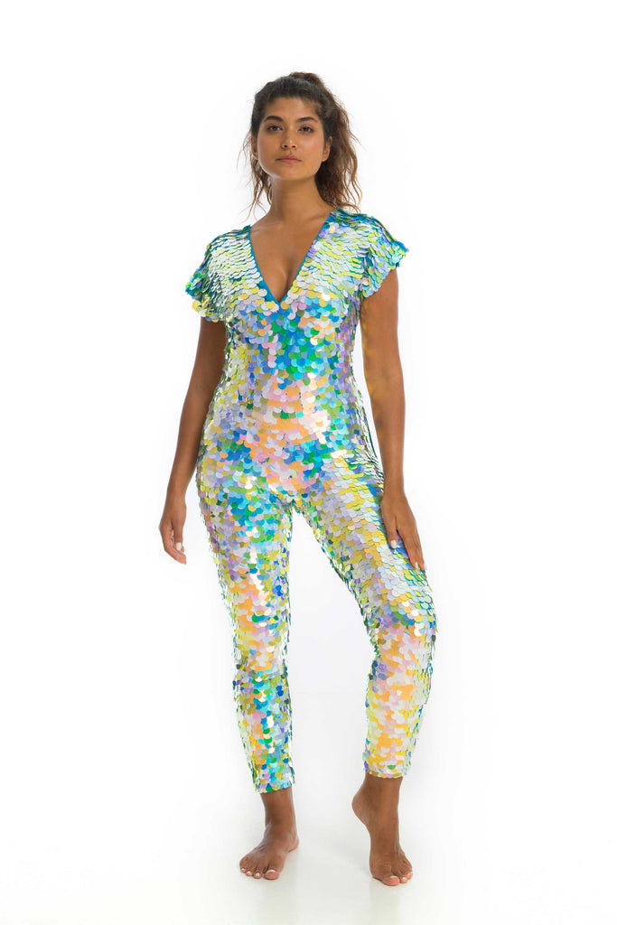 rosa bloom daydream mermaid jumpsuit sequin catsuit festival pale blue