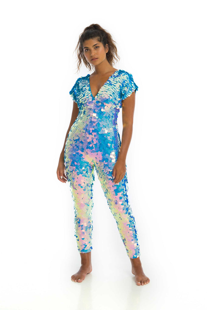 rosa bloom moonrise mermaid jumpsuit sequin catsuit festival pale blue lilac