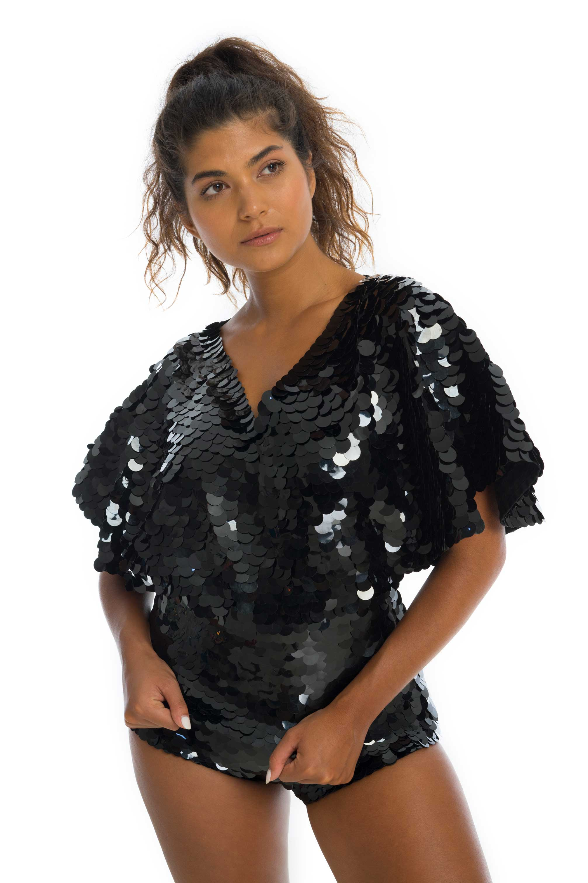 rosa bloom florence cape sleeve top black sequins festival party