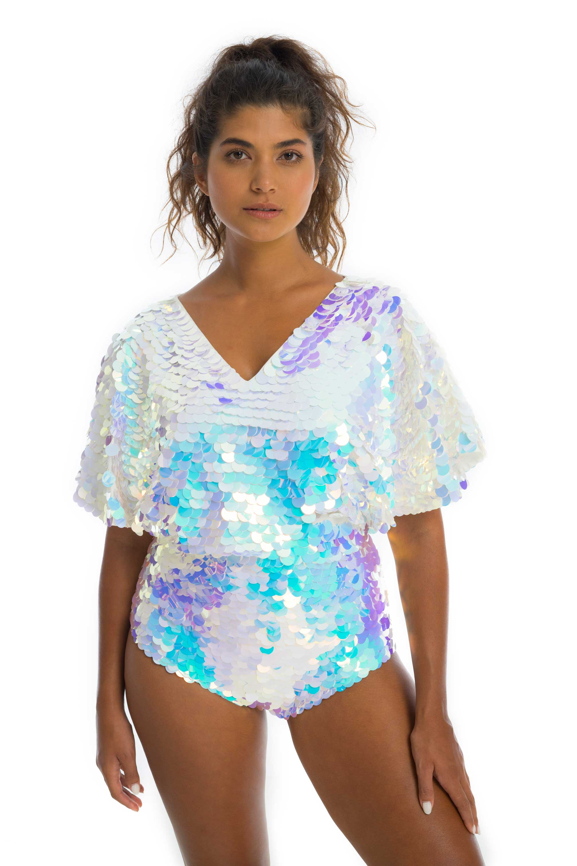 rosa bloom florence cape sleeve top opal white turquoise lilac bridal wedding sequins festival party