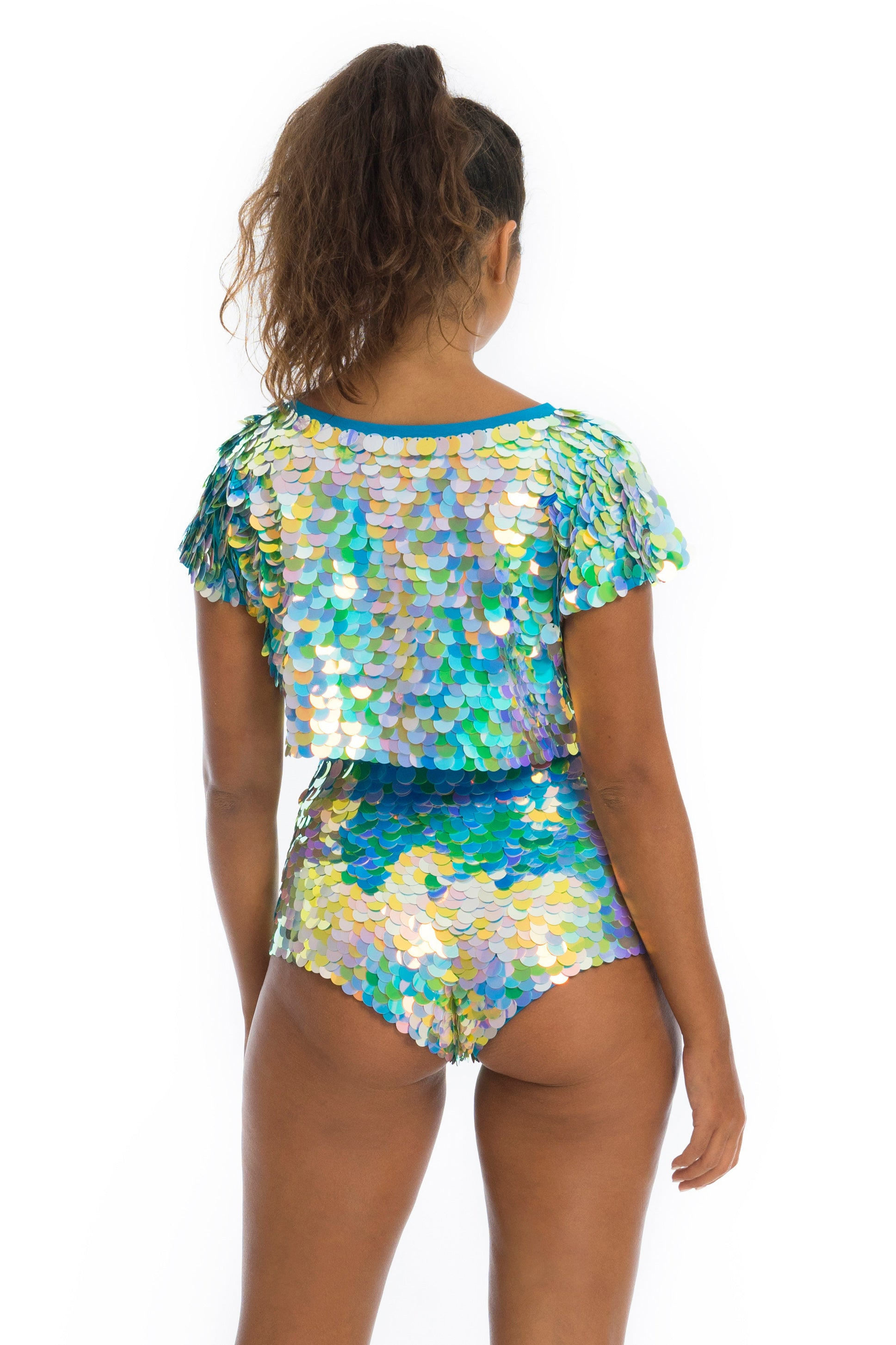 rosa bloom daydream gigi hot pants in blue and green festival sequins