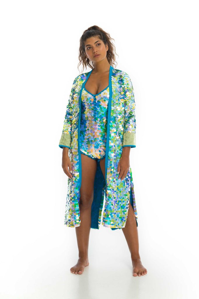 rosa bloom pale green and blue daydream sequin long duster kimono with silk velvet cuffs