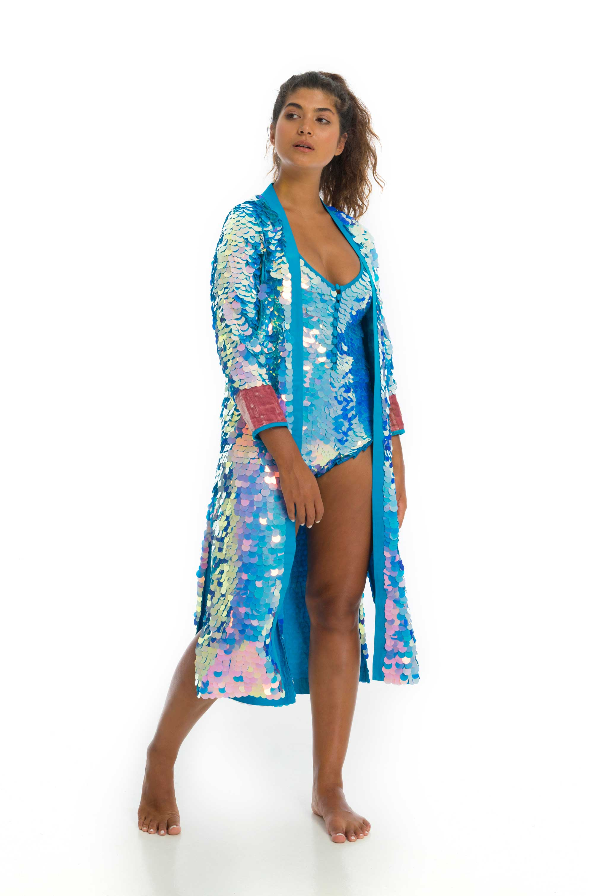 rosa bloom pale blue and lilac two tone iridescent moonrise sequinned duster jacket with pink velvet cuffs