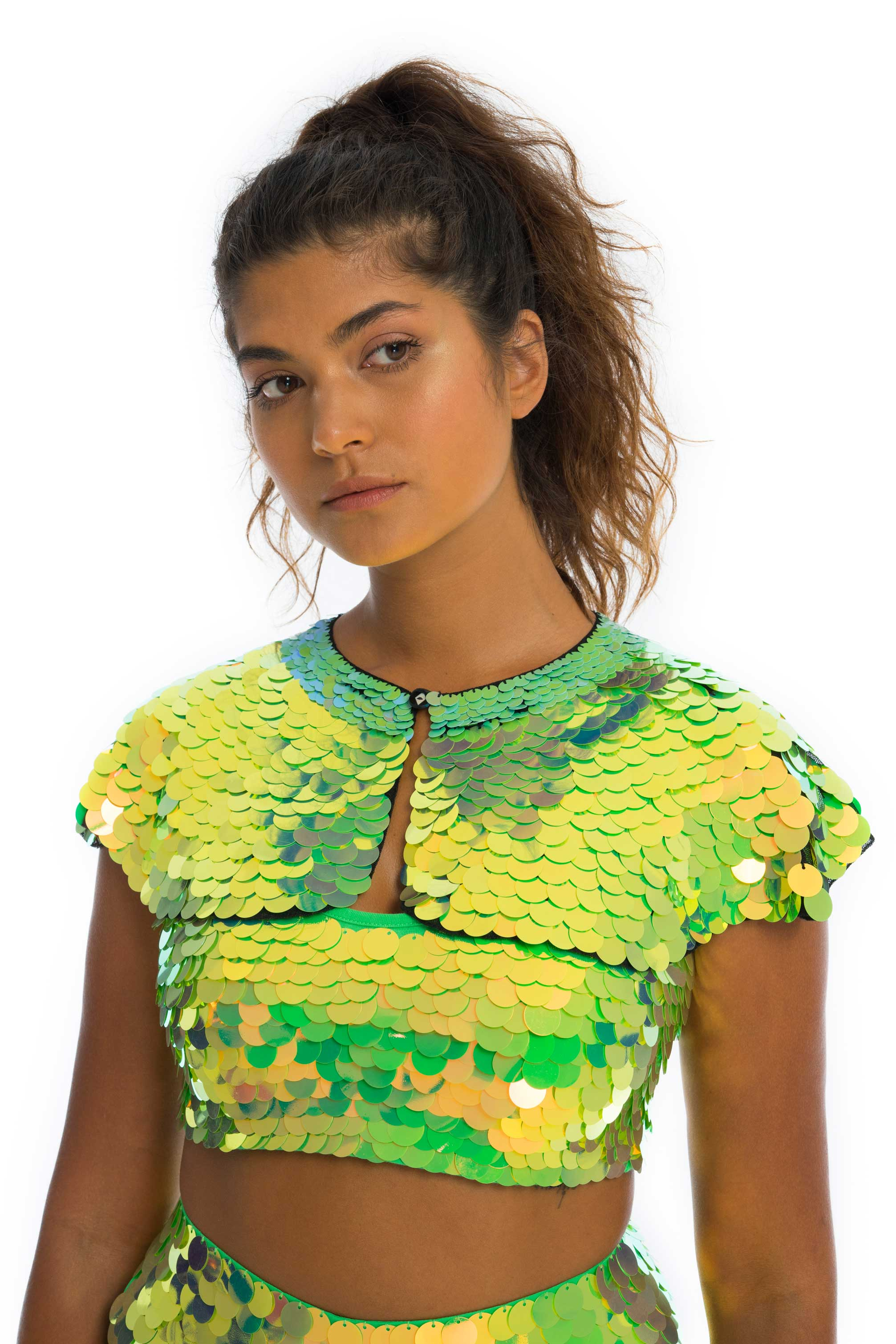 rosa bloom bright green angelica coloured sequin button up caplet