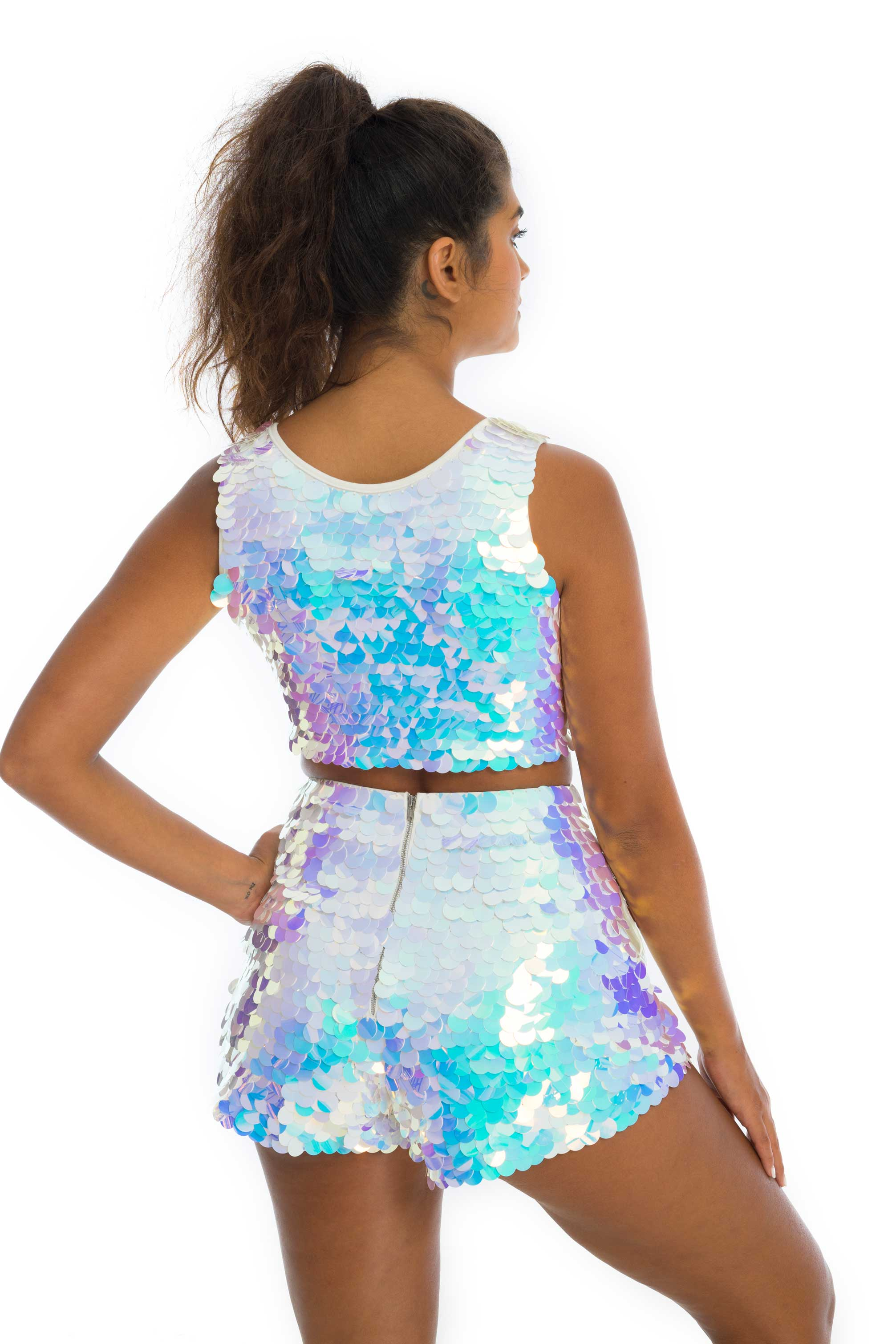 JUNO SEQUIN SHORTS - OPAL