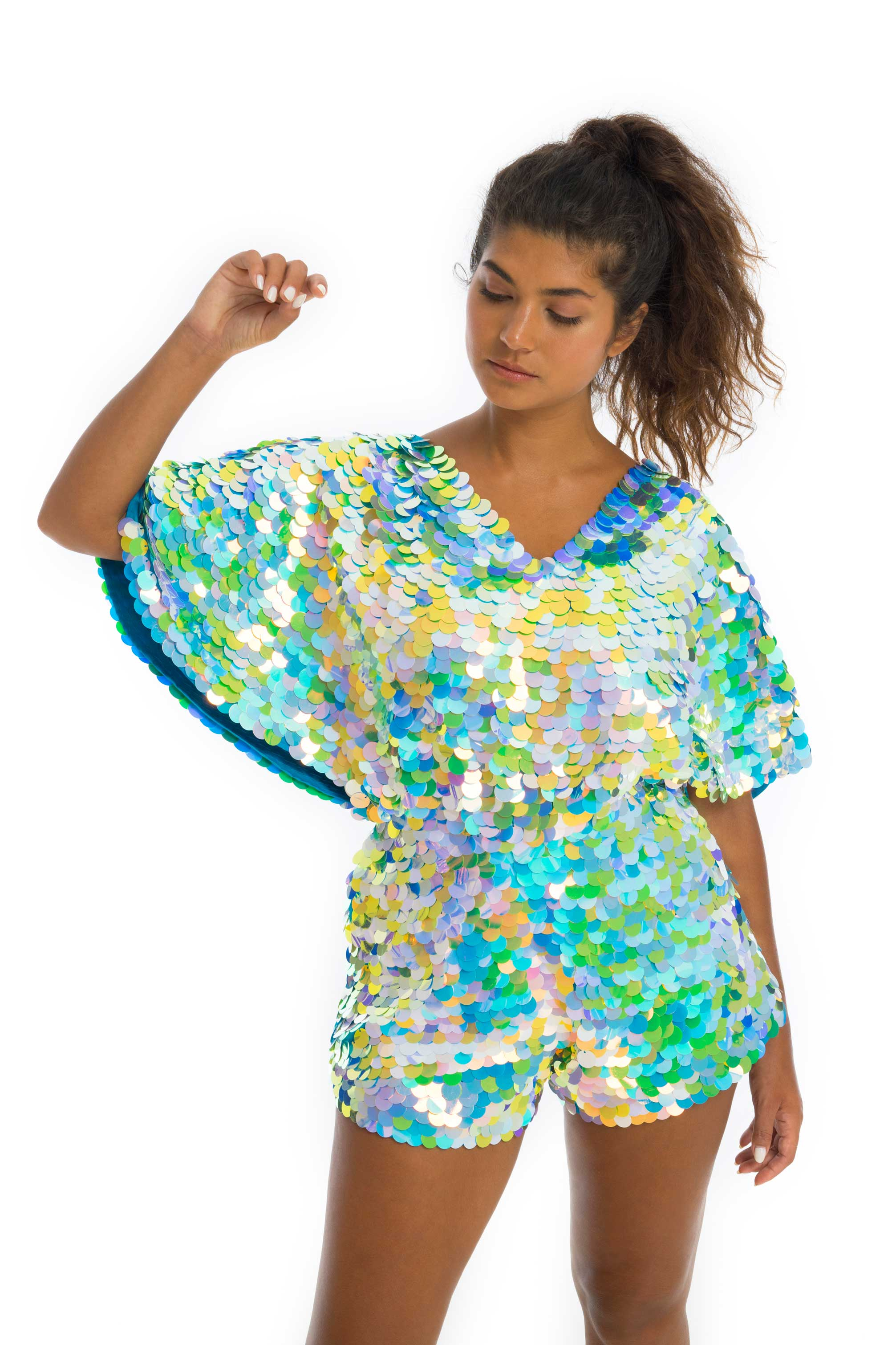 rosa bloom daydream blue and green sequinned romper with cape sleeves