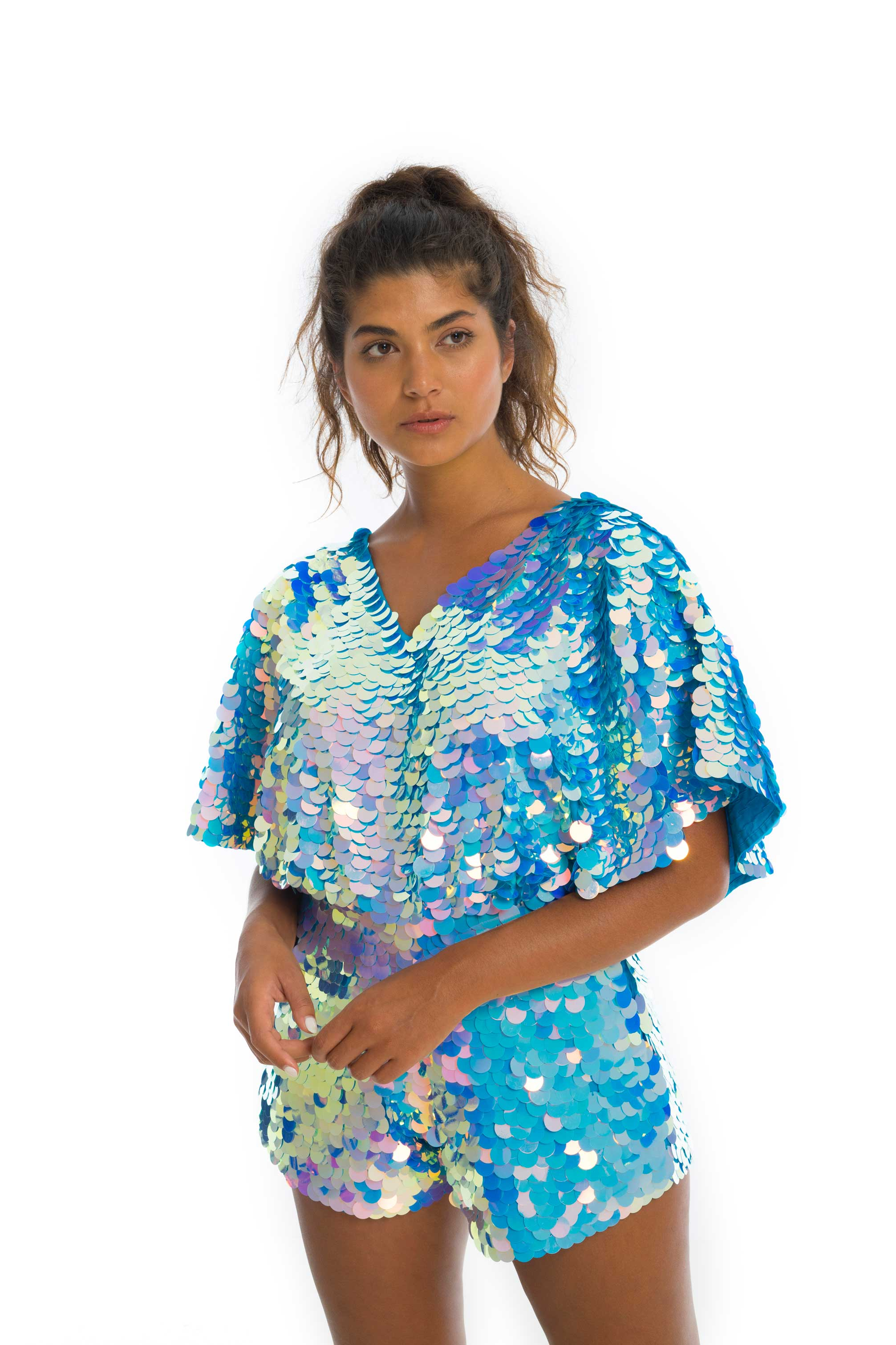 rosa bloom blue iridescent cape sleeved mella playsuit with pockets