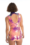 FIFI SEQUIN LEOTARD - FLAMINGO
