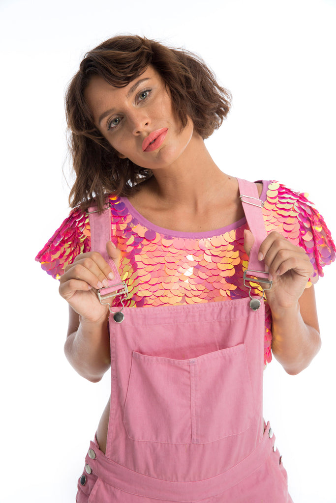 TINA SEQUIN CROP T-SHIRT - FLAMINGO
