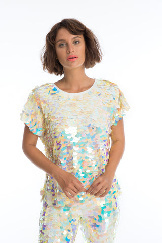 TOMMY SEQUIN T-SHIRT - PEARL