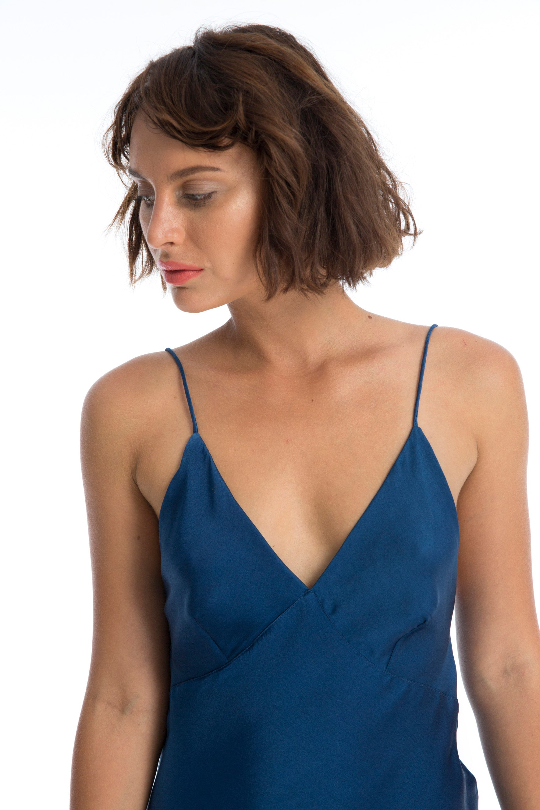 LILA SILK SLIP DRESS - NATURAL INDIGO DYE