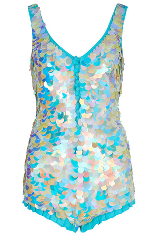 SEA CIRCUS SEQUIN PLAYSUIT - PEARL