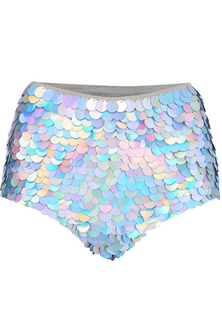 GIGI SEQUIN HOTPANTS - HOLOGRAM SILVER