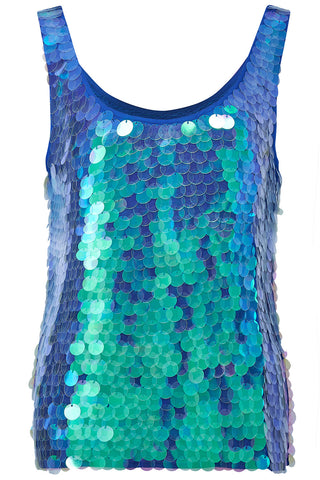 MELIA SEQUIN VEST - MERMAID