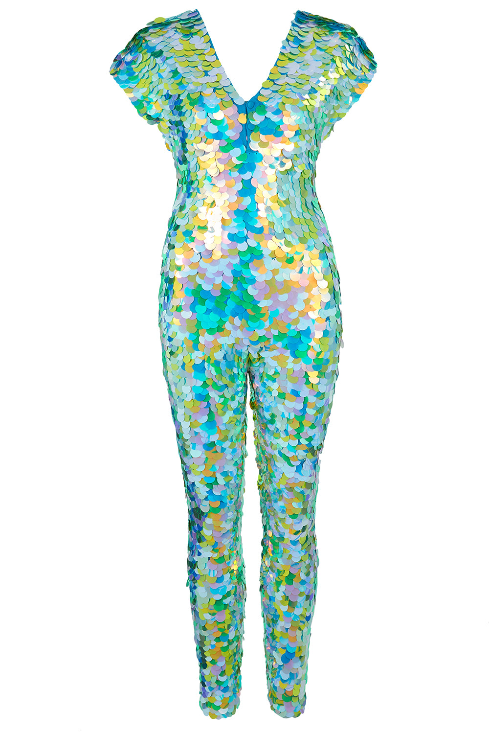 Jumpsuit covered in large round iridescent green and blue sequins