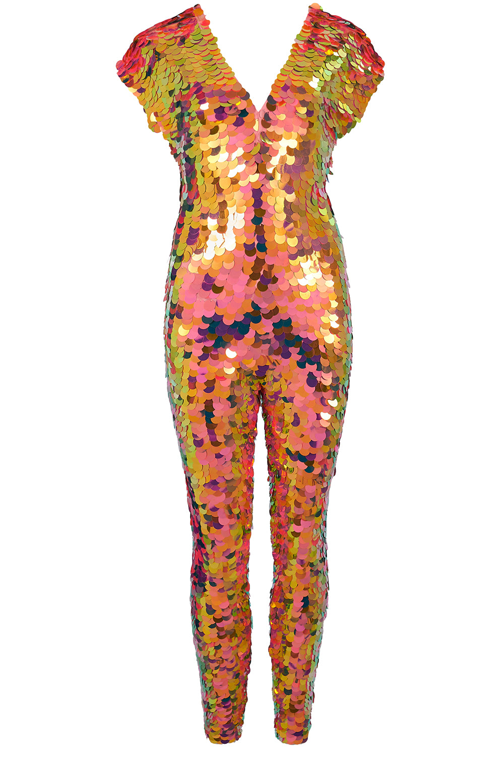 Jumpsuit covered in large round iridescent orange sequins