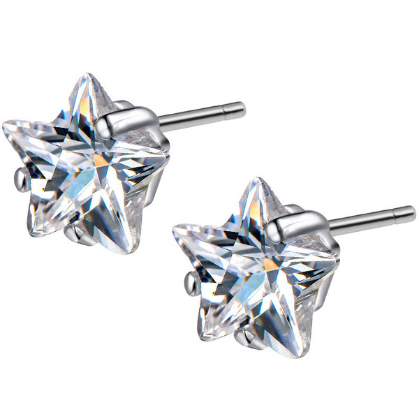 925 Sterling Silver Cute Little Star Stud Earrings
