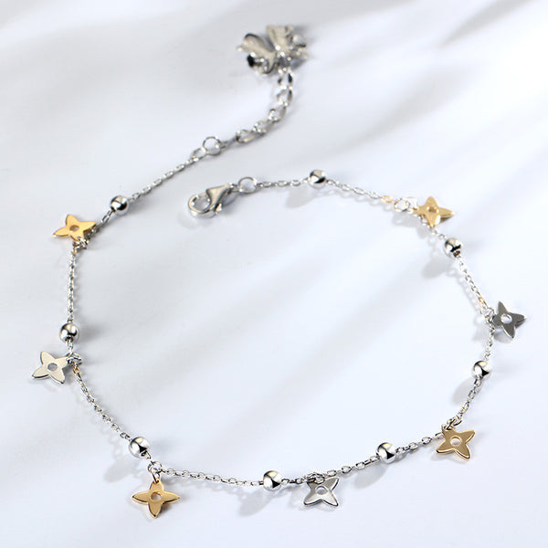 925 Sterling Silver Anklet With White & Gold Clover