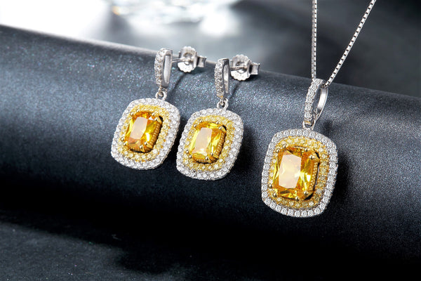 Rhodium plated 925 Sterling Silver Yellow Crystal and Zirconia Moon Light Lover Earring & Necklace Set