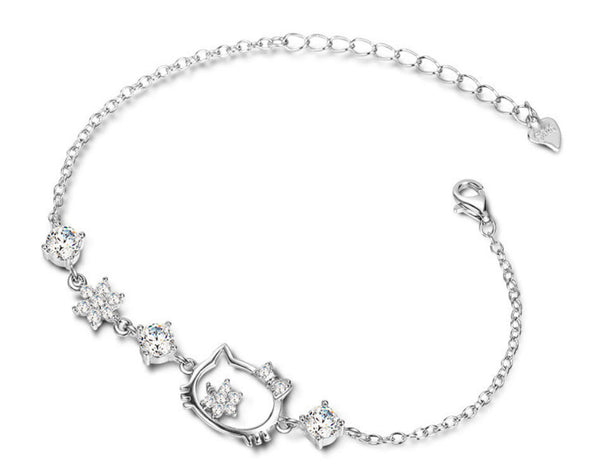 925 Sterling Silver Kitty Cat Bracelet.
