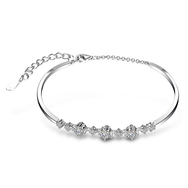 925 Sterling Silver Bangle With Simulated Diamond