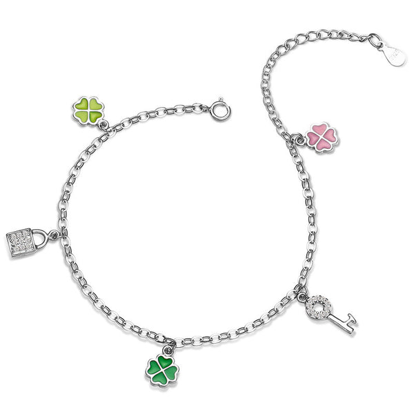 925 Sterling Silver Five Charms Anklet
