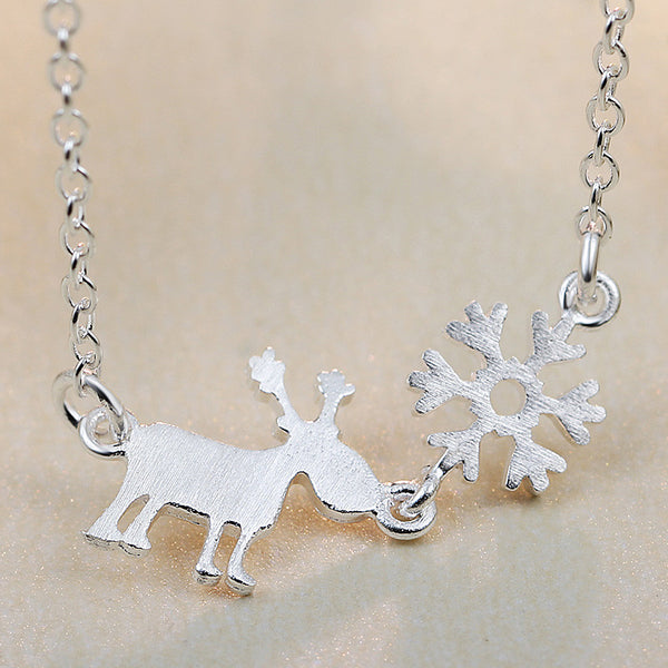 925 Sterling Silver Snowflake Reindeer Necklace