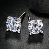 925 Sterling Silver Plated with 14k Gold 4 Prong Pure Brilliance Swarovski Zirconia Stud Earring