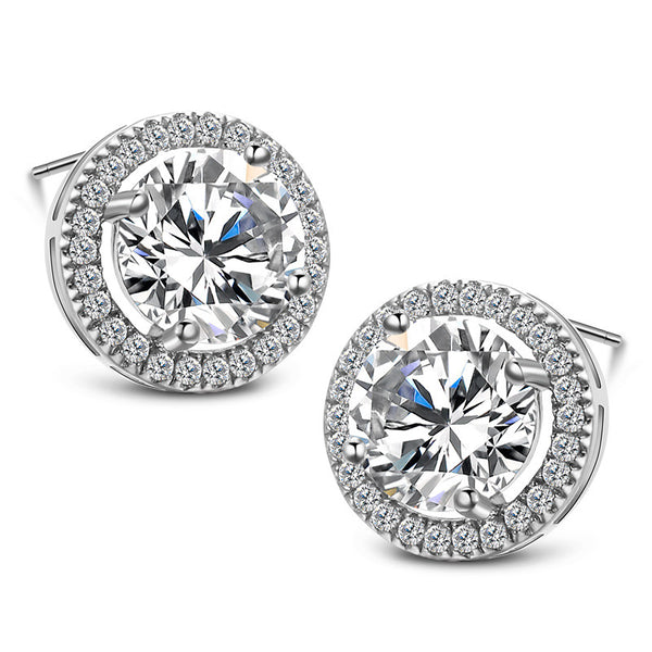 925 Sterling Silver Victoria Deco Round Halo Stud Earring