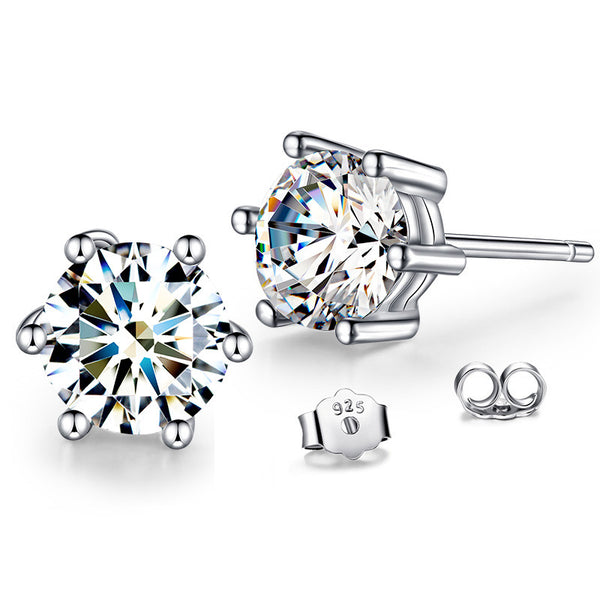 925 Sterling Silver Round Simulated Diamond Earrings