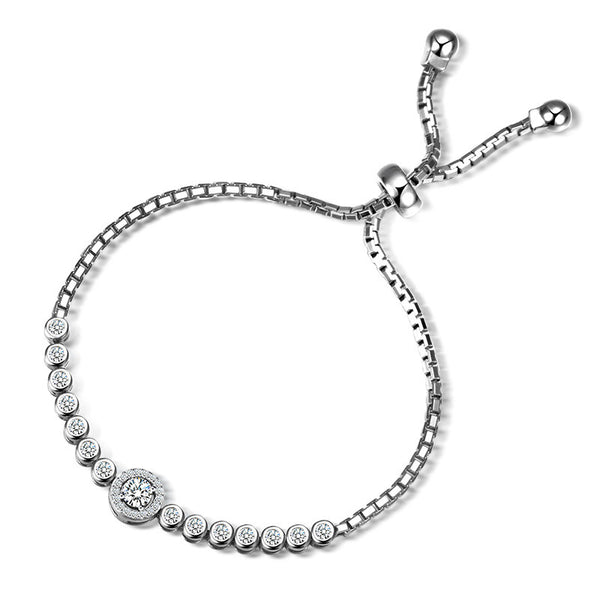 925 Sterling Silver Adjustable Simulated Diamond Bracelet