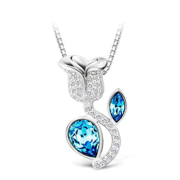 925 Sterling Silver Rose Pendant & Blue Topaz Necklace
