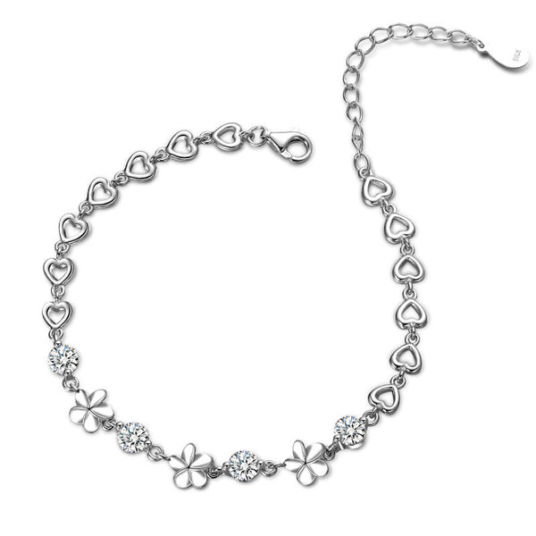 925 Sterling Silver Timeless Sparkling Flower Bracelet, with simulated diamonds