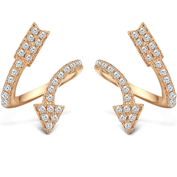 The Arrow of Love Earring, 925 Sterling Silver Plated With Rose Gold