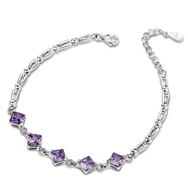 925 Sterling Silver Bracelet With AAA Purple Zirconia