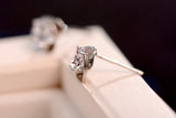 925 Sterling Silver Flower Simulated Diamond Stud Earring