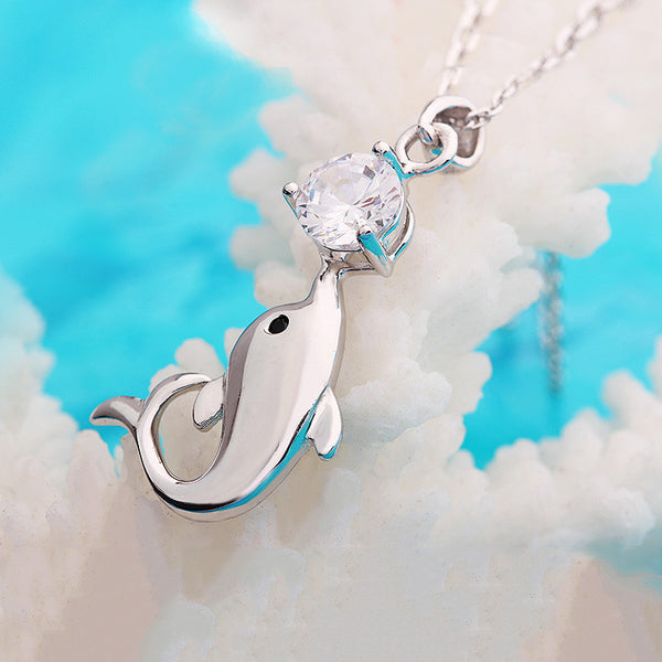925 Sterling Silver Dolphin Kiss Pendant With AAA Zircon