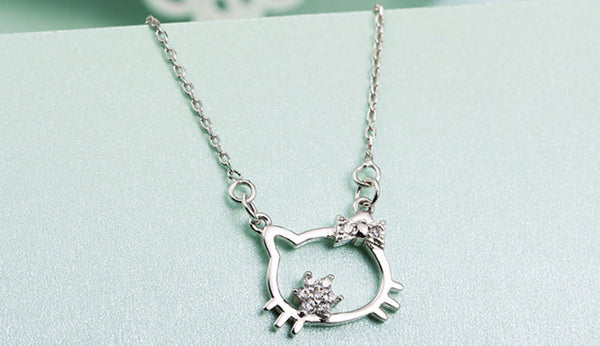 925 Sterling Silver Hello Kitty Necklace With Simulated Diamond