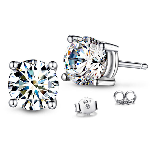 925 Sterling Silver 4 Prong Simulated Diamond Stud Earring, 6mm 1.0 carat each