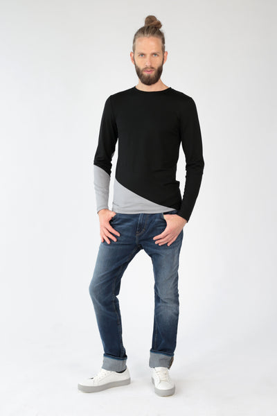 "Crew neck long sleeve t-shirt ""Diagonal""-T-Shirts-Feelwear"