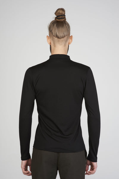 Men's slim fit mock turtleneck sweater in black merino_ back view close up