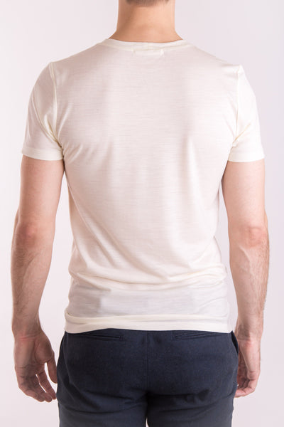 Men's slim fit o-neck T-shirt in lightweight (160gsm) ivory merino wool by Feelwear_ back view close up