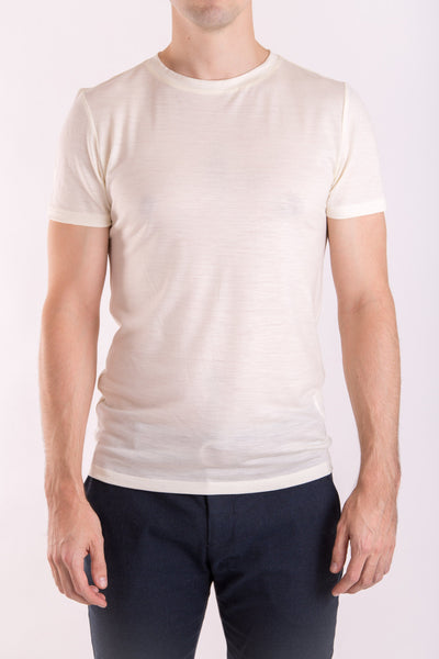 Men's slim fit o-neck T-shirt in lightweight (160gsm) ivory merino wool by Feelwear_ front view close up