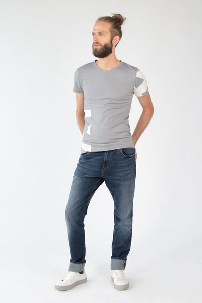 "V-neck T-shirt ""Geometry"" in silver merino-T-Shirts-Feelwear"