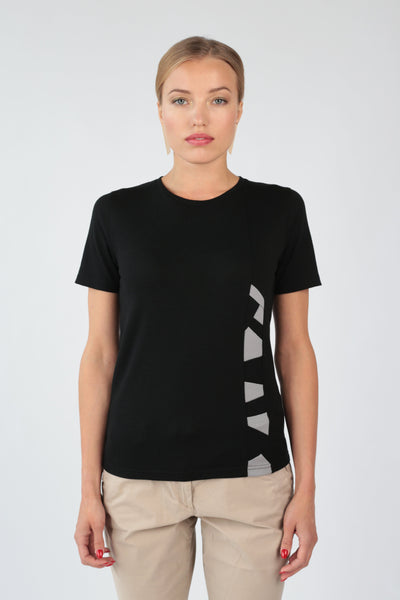 "Women's T-shirt ""Geometry"" in black merino by Feelwear_front view close up"