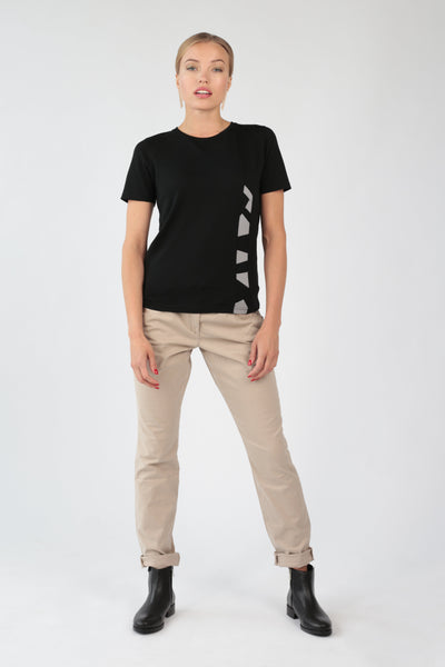 "Women's T-shirt ""Geometry"" in black merino"