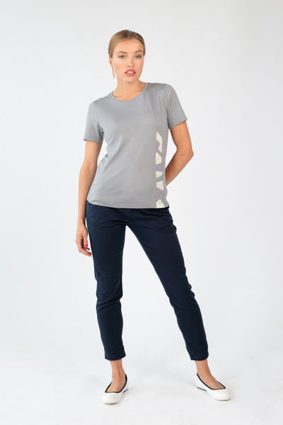 "Women's T-shirt ""Geometry"" in grey merino"