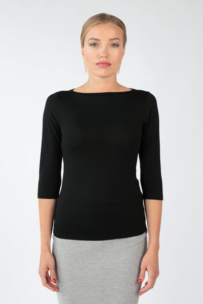Boat neck blouse in merino-T-Shirts-Feelwear