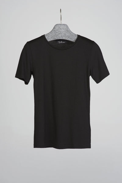 Women's T-shirt in merino (black)-T-Shirts-Feelwear
