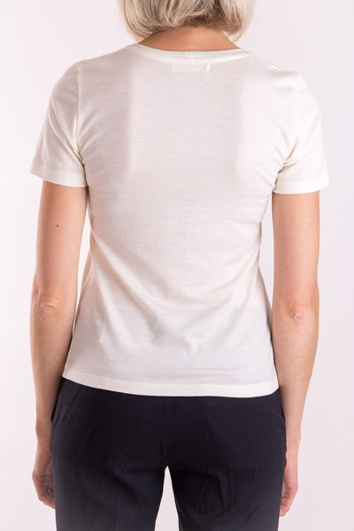 Women's o-neck T-shirt in midweight ivory merino (200gsm) by Feelwear_ back view close up